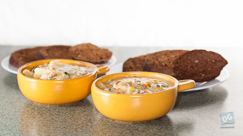 Smoked Cod Chowder with Rye Bread